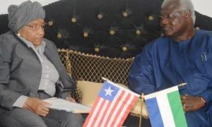 Presidents Ernest Koroma (Koroma) Ellen Johnson-Sirleaf (Liberia)