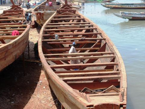 Fishing boats along the Lungi coast